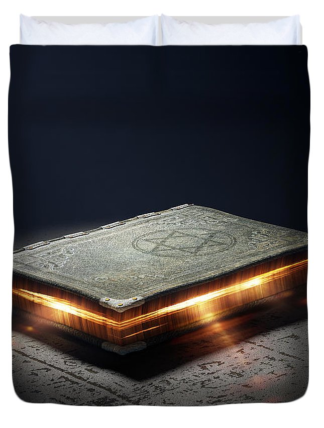 Book Duvet Cover featuring the photograph Book With Magic Powers by Johan Swanepoel