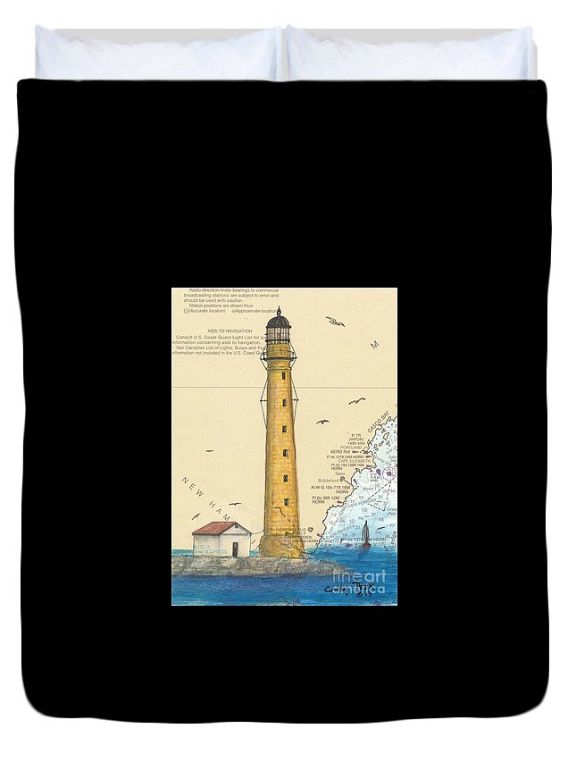 Duvet Cover featuring the painting Boon Island Lighthouse Me Chart Art Cathy Peek by Cathy Peek