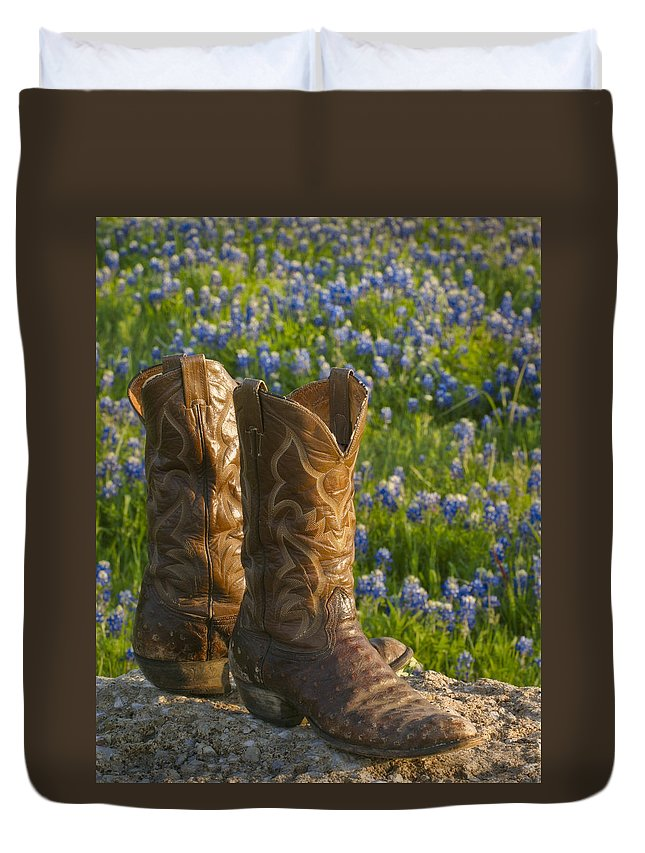 Bluebonnet Duvet Cover featuring the photograph Boots And Bluebonnets by David and Carol Kelly