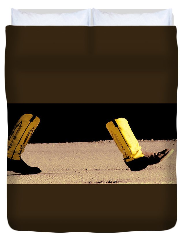 Boots Duvet Cover featuring the photograph Boots On The Ground by Terry Fiala
