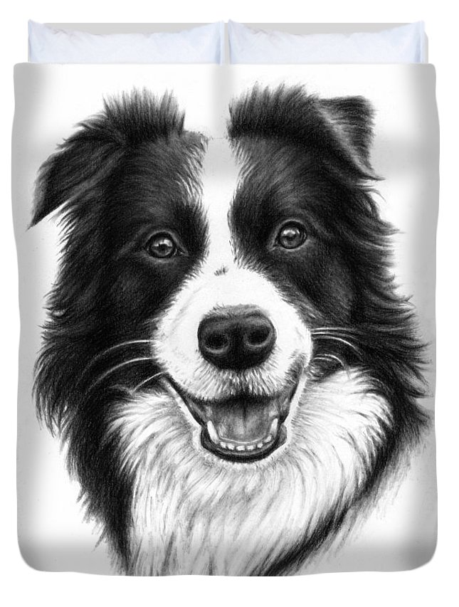 Dog Duvet Cover featuring the drawing Border Collie by Nicole Zeug