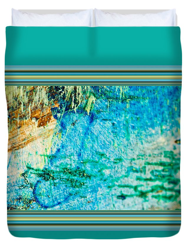 Borderized Abstract Ocean Painting Duvet Cover featuring the painting Borderized Abstract Ocean Print by Marie Jamieson