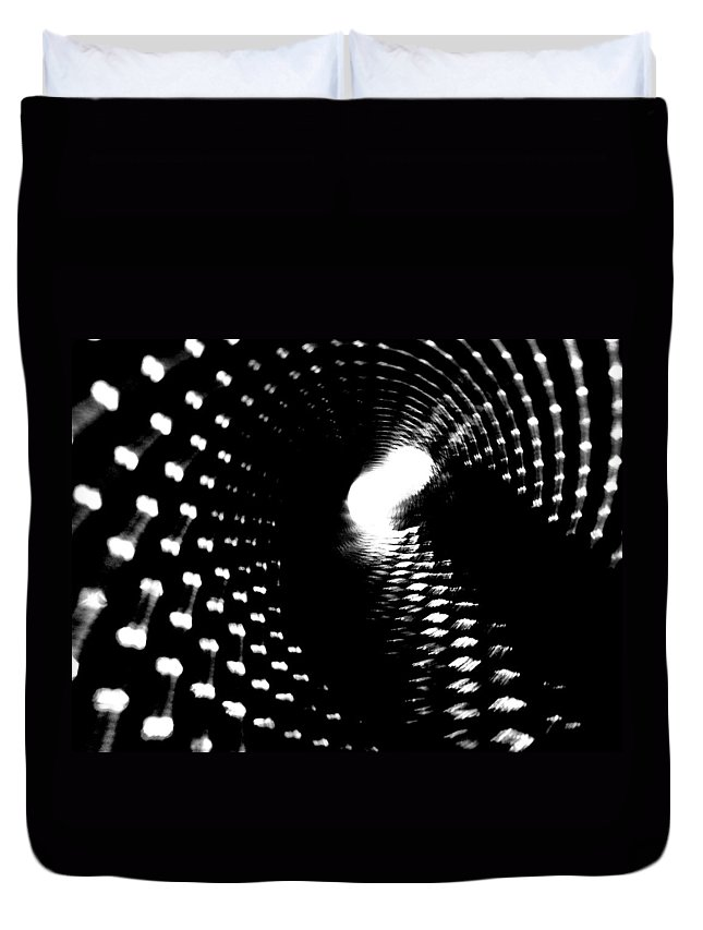 Black And White Duvet Cover featuring the photograph Bore Cylinder 2 by Amar Sheow