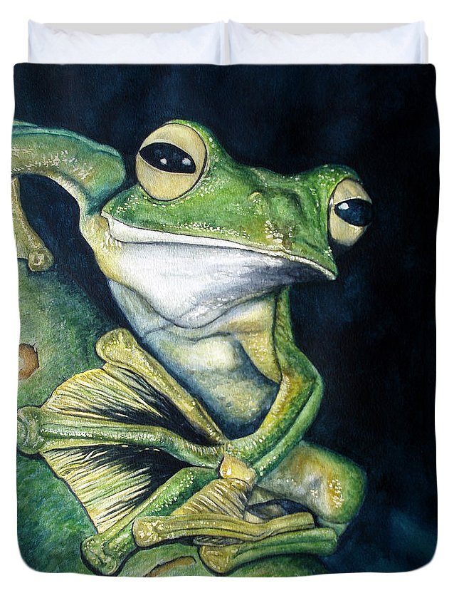 Frog Duvet Cover featuring the painting Boreal Flyer Tree Frog by Joey Nash