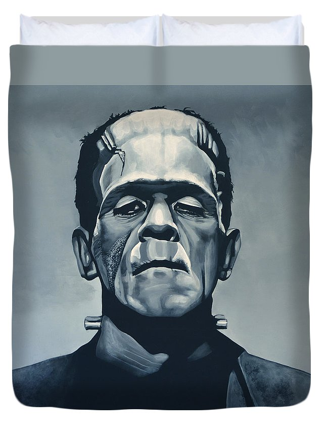 Frankenstein Duvet Cover featuring the painting Boris Karloff as Frankenstein by Paul Meijering