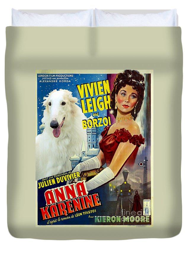 Dog Duvet Cover featuring the painting Borzoi Art - Anna Karenine Movie Poster by Sandra Sij
