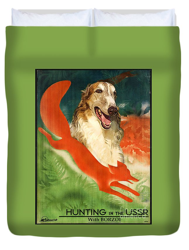 Dog Duvet Cover featuring the painting Borzoi Art - Hunting In The Ussr Poster by Sandra Sij
