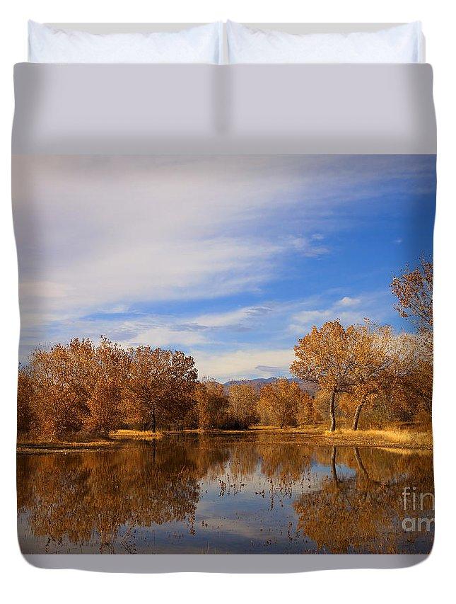 Bosque Del Apache Duvet Cover featuring the photograph Bosque Del Apache Reflections by Mike Dawson