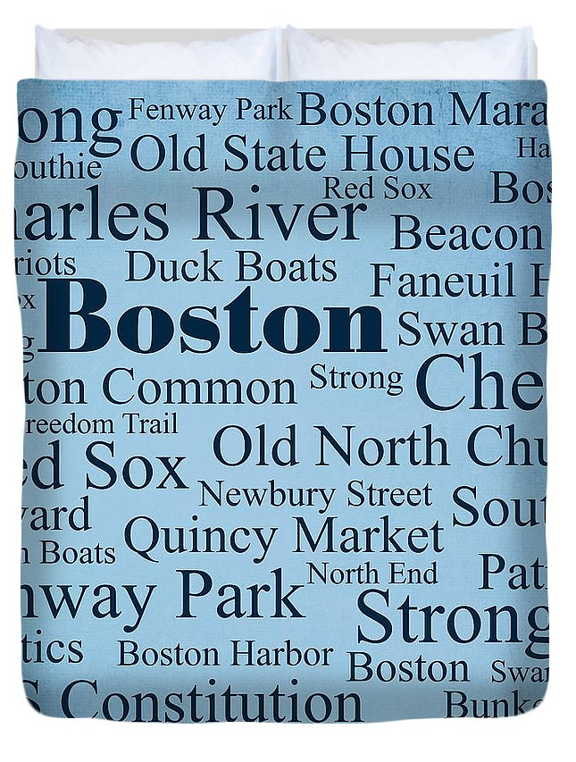 Patriots Duvet Cover featuring the photograph Boston by Denyse and Laura Design Studio