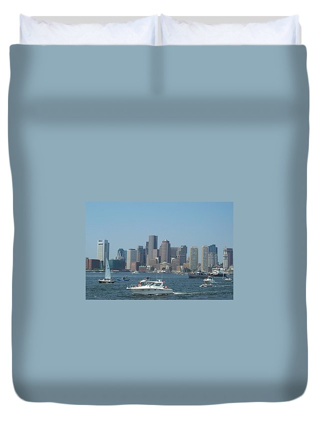 Boston Harbor Duvet Cover featuring the photograph Boston Harbor July Fourth by Barbara McDevitt