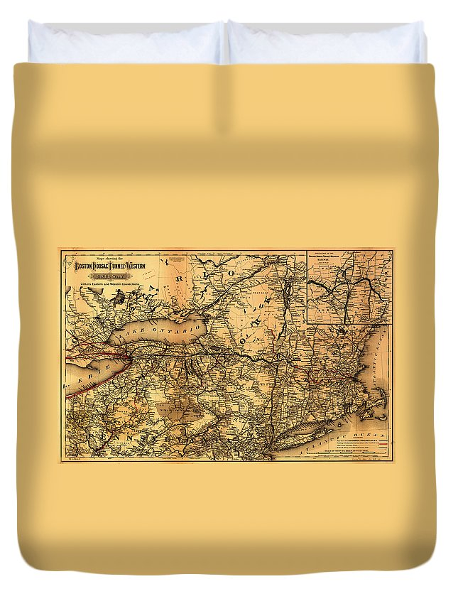 Map Duvet Cover featuring the drawing Boston Hoosac Tunnel And Western Railway Map 1881 by Mountain Dreams