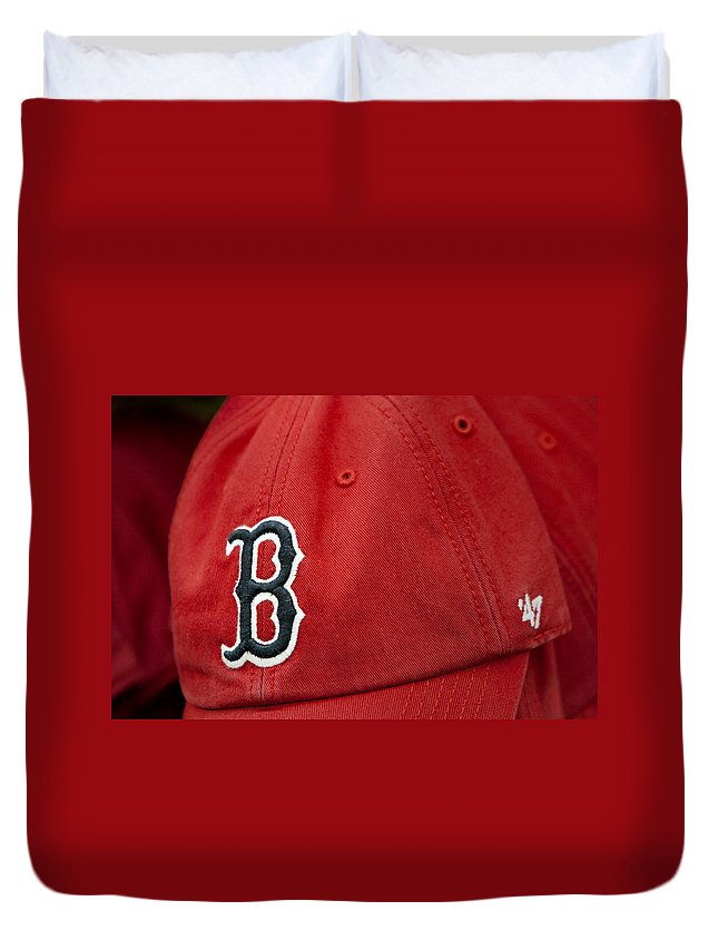 Baseball Duvet Cover featuring the photograph Boston Red Sox Baseball Cap by Susan Candelario