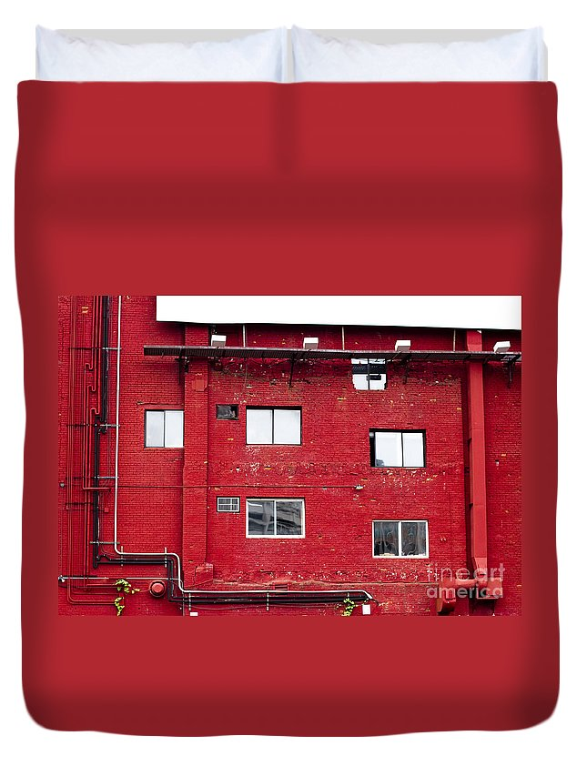 Duvet Cover featuring the photograph Boston Red Wall by Sara Schroeder