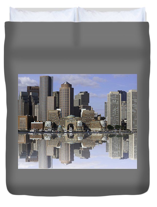 Spectacle Island Duvet Cover featuring the photograph Boston Reflections by James Ekstrom