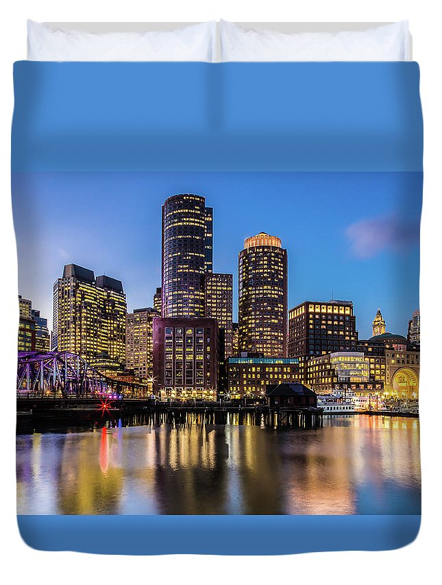 Downtown District Duvet Cover featuring the photograph Boston Skyline At Sunset by (c) Swapan Jha
