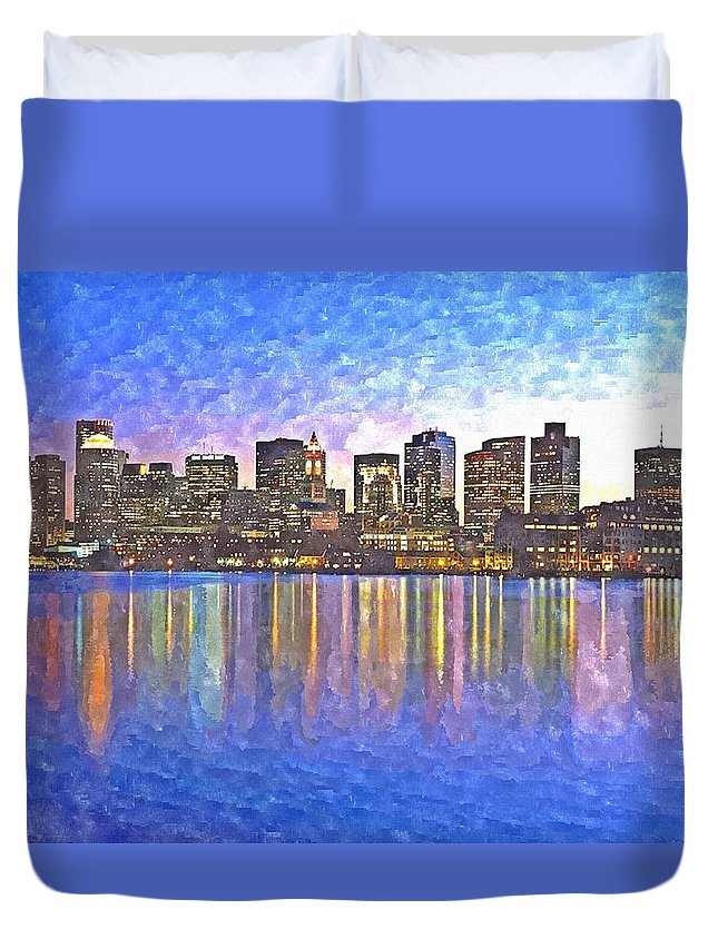 Boston Duvet Cover featuring the painting Boston Skyline By Night by Rachel Niedermayer