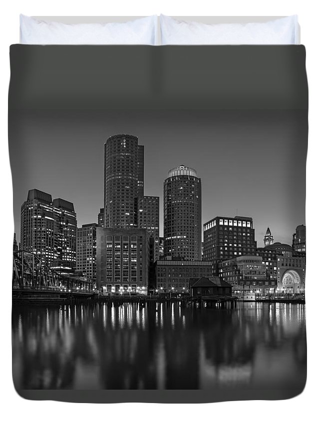 Boston Duvet Cover featuring the photograph Boston Skyline Seaport District Bw by Susan Candelario