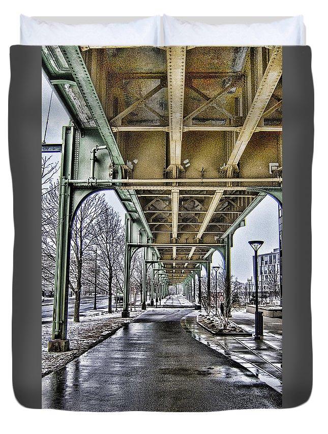 Boston Duvet Cover featuring the photograph Boston Streetcar Overpass-cambridge V2 by Douglas Barnard