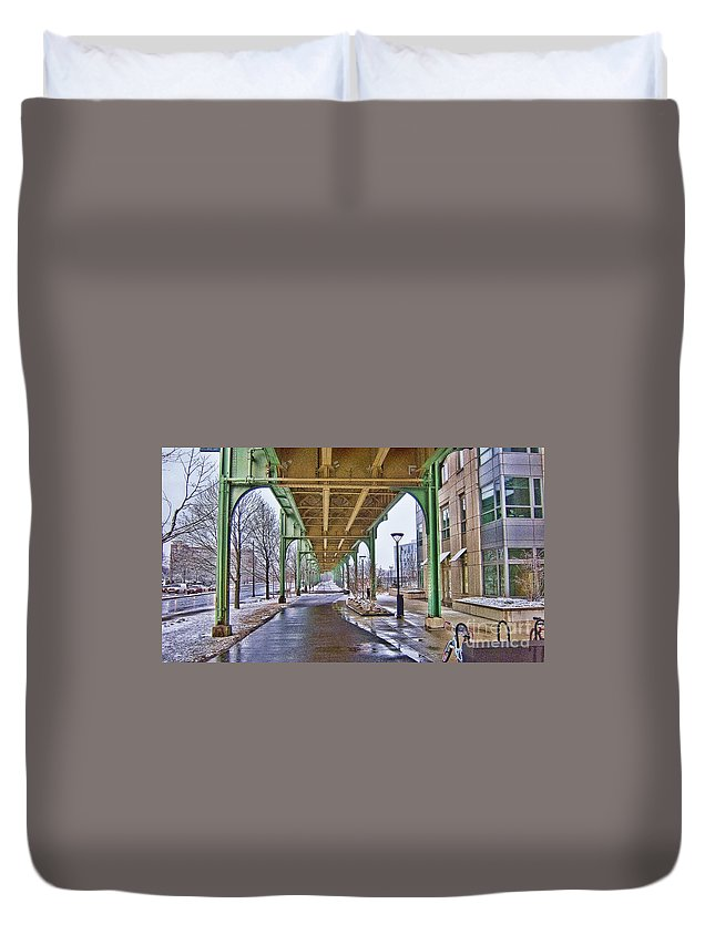 Boston Duvet Cover featuring the photograph Boston Streetcar Overpass by Douglas Barnard