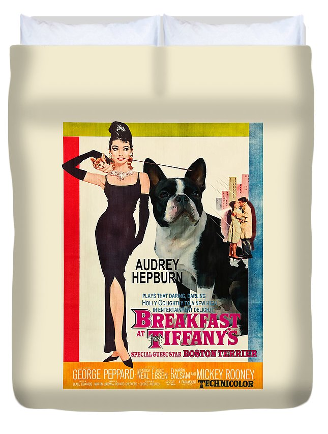 Dog Duvet Cover featuring the painting Boston Terrier Art - Breakfast At Tiffany Movie Poster by Sandra Sij