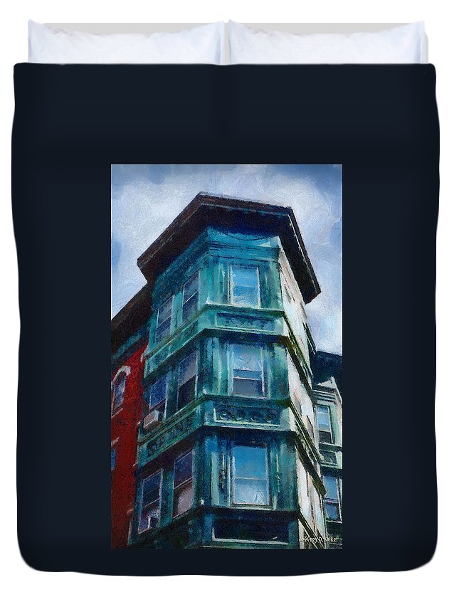 America Duvet Cover featuring the painting Boston's North End by Jeffrey Kolker