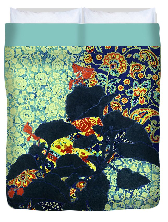 Floral Duvet Cover featuring the painting Botanical Klimt by Heidi E Nelson
