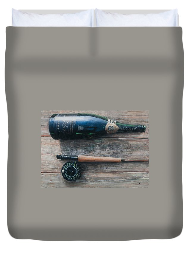 Bottle; Bottles; Champagne; Champagne Bottle; Rod; Fishing; Fishing Rod; Celebration; Planks Duvet Cover featuring the painting Bottle And Rod I by Lincoln Seligman