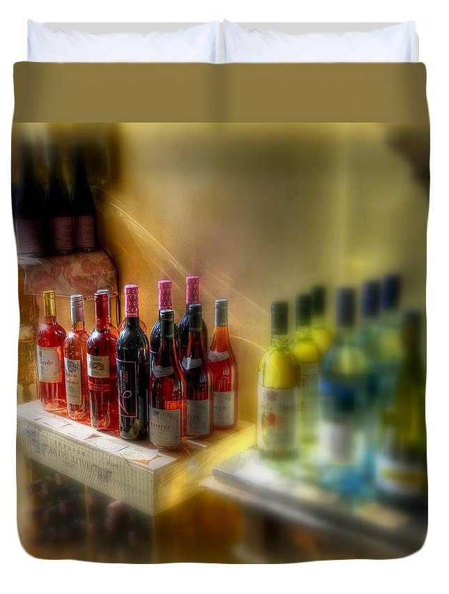 New York Duvet Cover featuring the photograph Bottle Of Wine by Jeff Watts