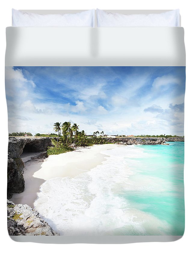 Scenics Duvet Cover featuring the photograph Bottom Bay, Barbados by Tomml