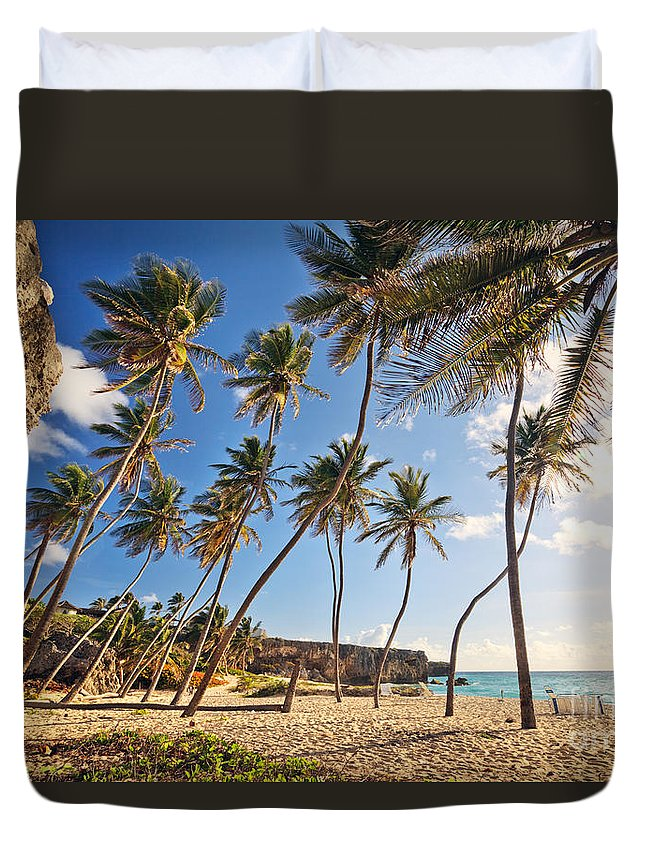 Landscape Duvet Cover featuring the photograph Bottom Bay Beach In Barbados Caribbean by Matteo Colombo