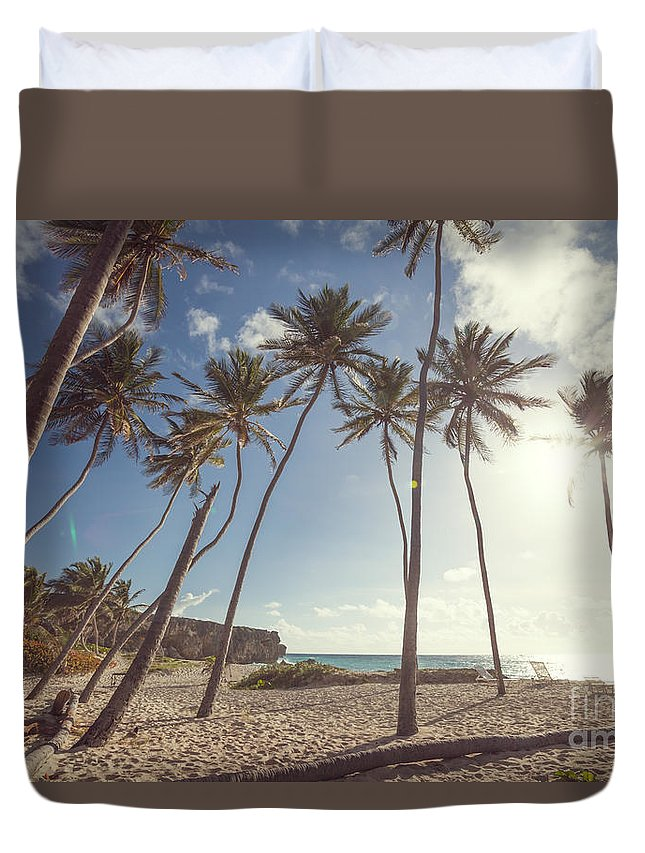 Landscape Duvet Cover featuring the photograph Bottom Bay Tropical Beach In Barbados Caribbean by Matteo Colombo