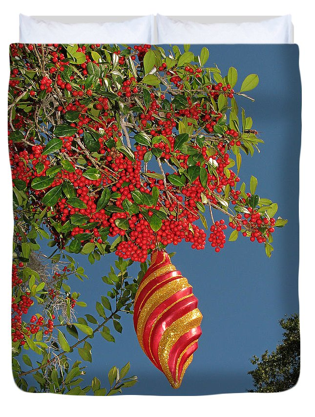 Nature Duvet Cover featuring the photograph Boughs Of Holly by Peg Urban
