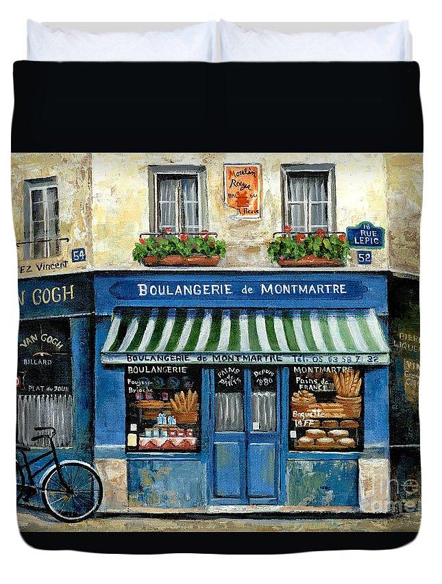 Europe Duvet Cover featuring the painting Boulangerie de Montmartre by Marilyn Dunlap