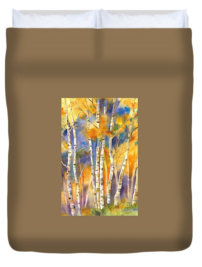 Aspen Duvet Cover featuring the painting Boulder Aspens by Jackie Friesth