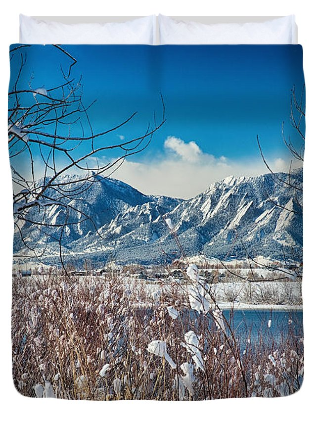 Winter Duvet Cover featuring the photograph Boulder Colorado Winter Season Scenic View by James BO Insogna
