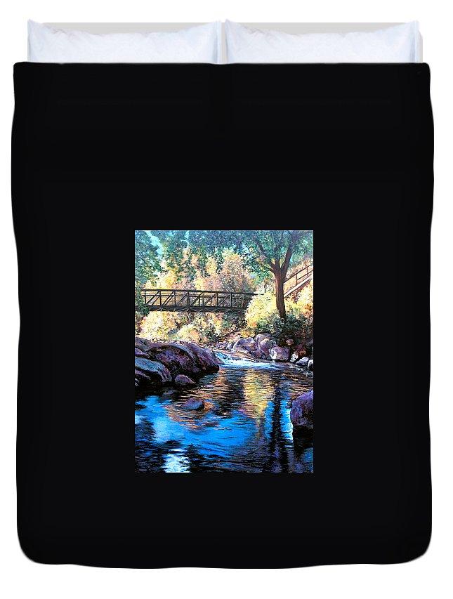 Boulder Duvet Cover featuring the painting Boulder Creek Bridge by Tom Roderick