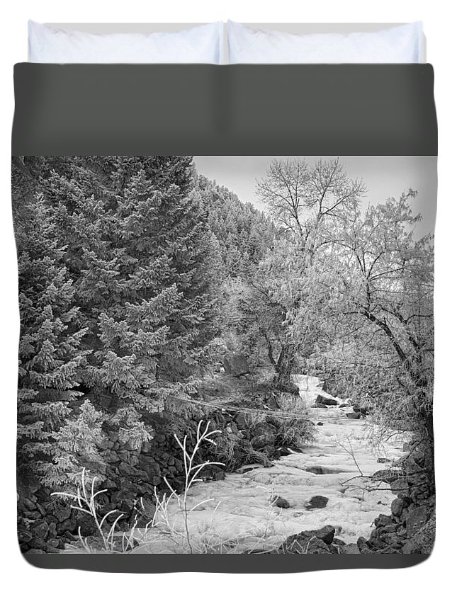 Winter Duvet Cover featuring the photograph Boulder Creek Winter Wonderland Black And White by James BO Insogna