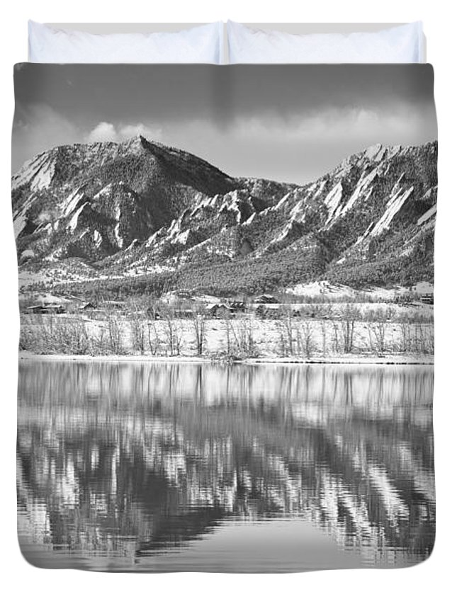 Winter Duvet Cover featuring the photograph Boulder Reservoir Flatirons Reflections Boulder Co Bw by James BO Insogna