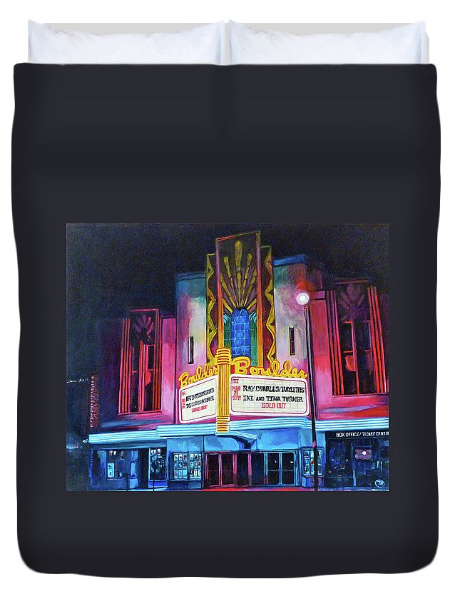 Boulder Theater Duvet Cover featuring the painting Boulder Theater by Tom Roderick