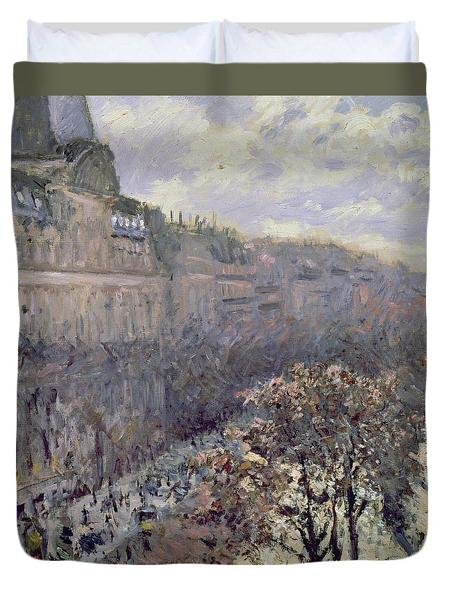 Street Scene Duvet Cover featuring the painting Boulevard Des Italiens by Gustave Caillebotte