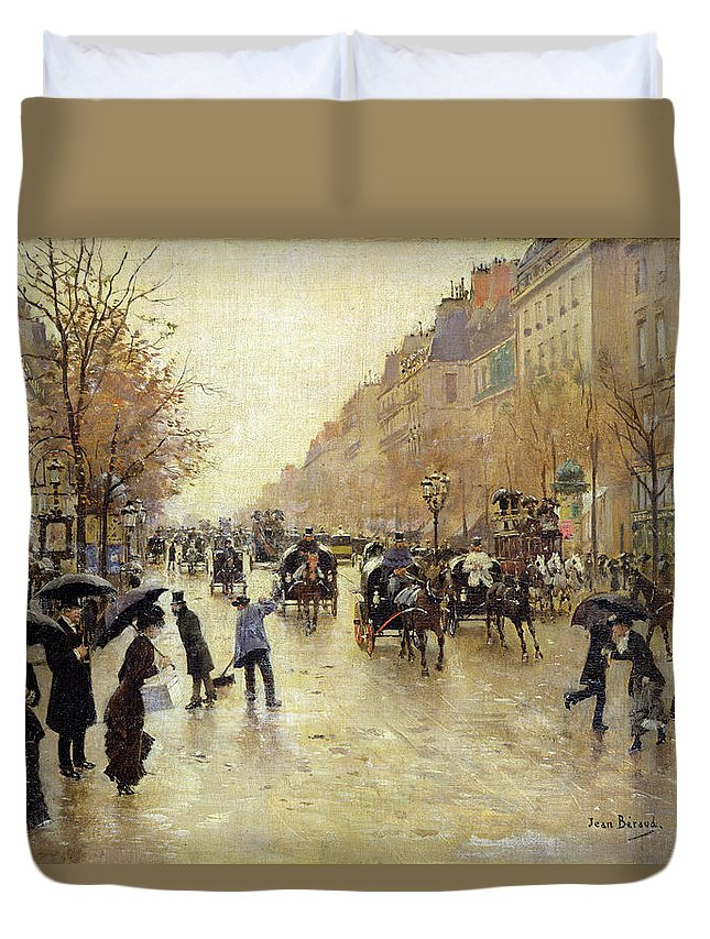 Umbrella Duvet Cover featuring the photograph Boulevard Poissonniere In The Rain, C.1885 Oil On Canvas by Jean Beraud