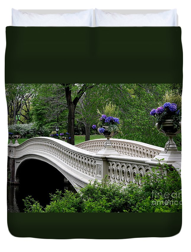 Bow Bridge Duvet Cover featuring the photograph Bow Bridge Flower Pots - Central Park N Y C by Christiane Schulze Art And Photography