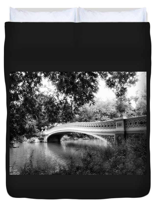 Bridge Duvet Cover featuring the photograph Bow Bridge In Black And White by Jessica Jenney