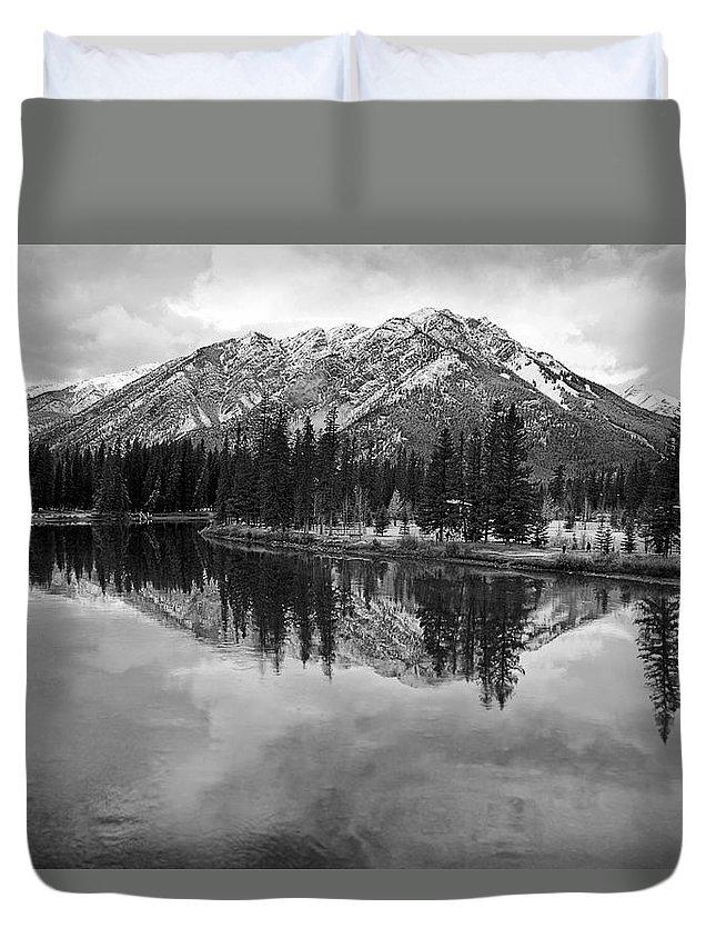 Bow River Duvet Cover featuring the digital art Bow River Banff Alberta by Diane Dugas