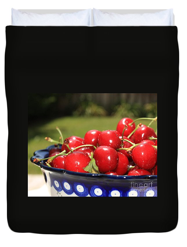 Cherries Duvet Cover featuring the photograph Bowl Of Cherries In The Garden by Carol Groenen