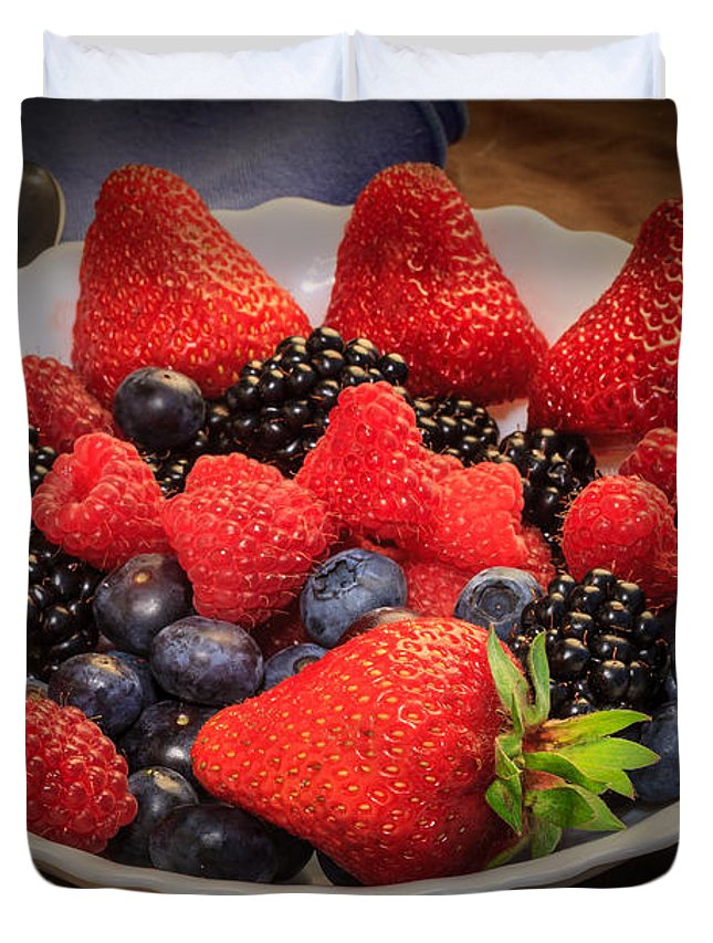 Bowl Of Fruit Duvet Cover featuring the photograph Bowl Of Fruit 1 by Mike Penney