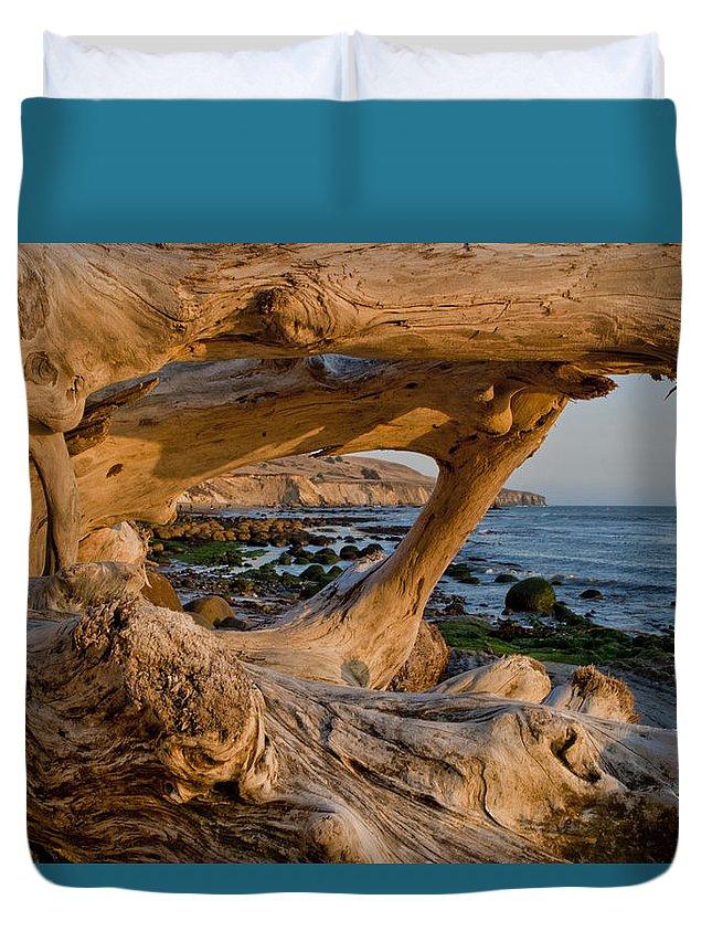 Bowling Ball Beach Duvet Cover featuring the photograph Bowling Ball Beach Framed In Driftwood by Her Arts Desire