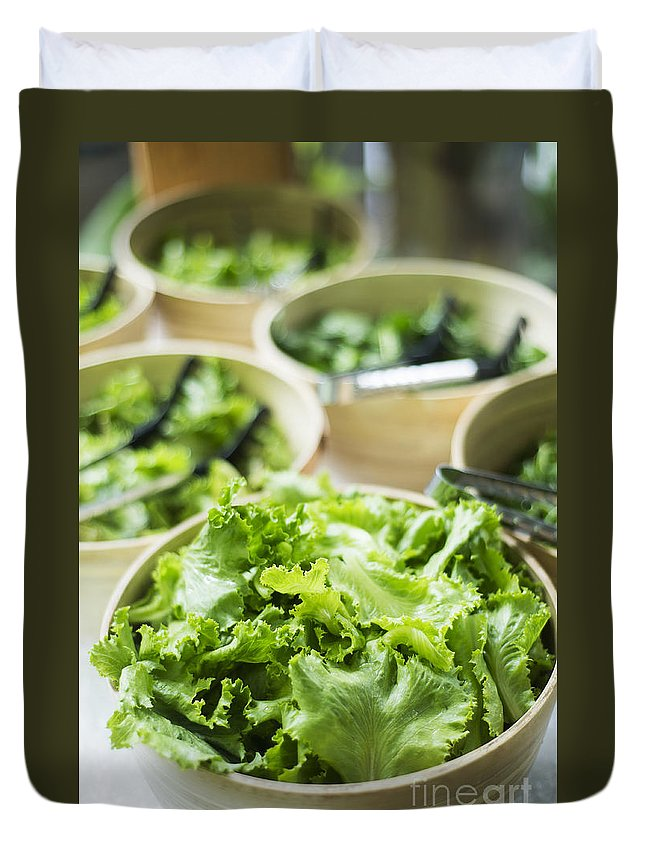 Bowl Duvet Cover featuring the photograph Bowls Of Salad Keaves by Jacek Malipan