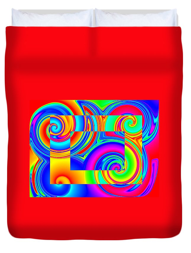 Rainbow Duvet Cover featuring the digital art Boxed Rainbow Swirls 1 by Ron Hedges