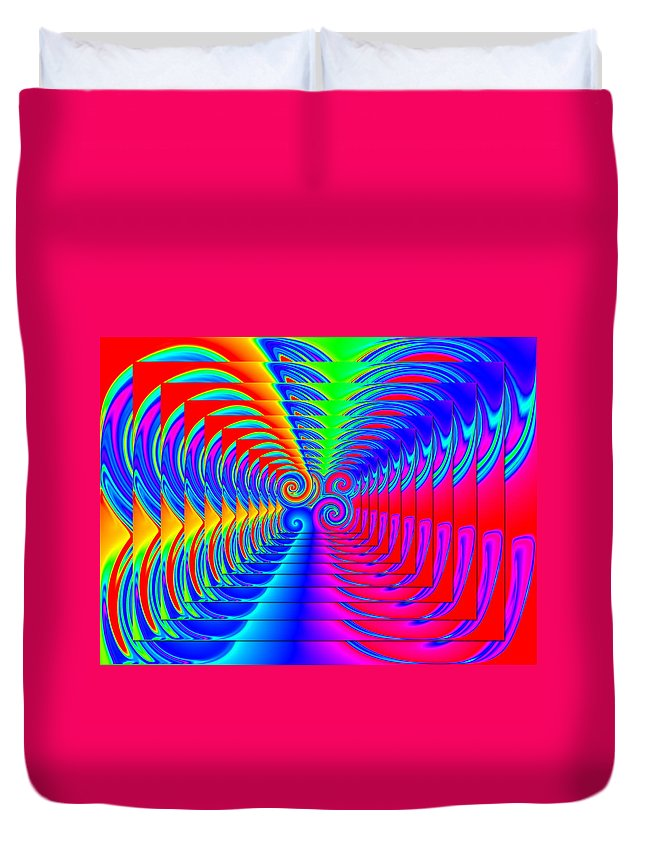 Swirls Duvet Cover featuring the digital art Boxed Rainbow Swirls 2 by Ron Hedges